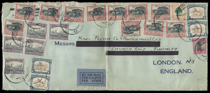 SOUTH AFRICA 1933 REMARKABLE HIGH FRANKING ENVELOPE