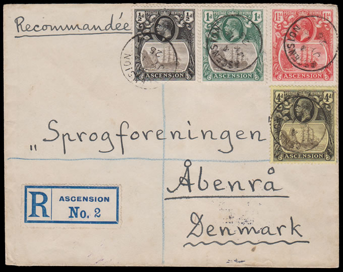 ASCENSION 1925 KGV BADGE ISSUE FRANKING LETTER TO DENMARK