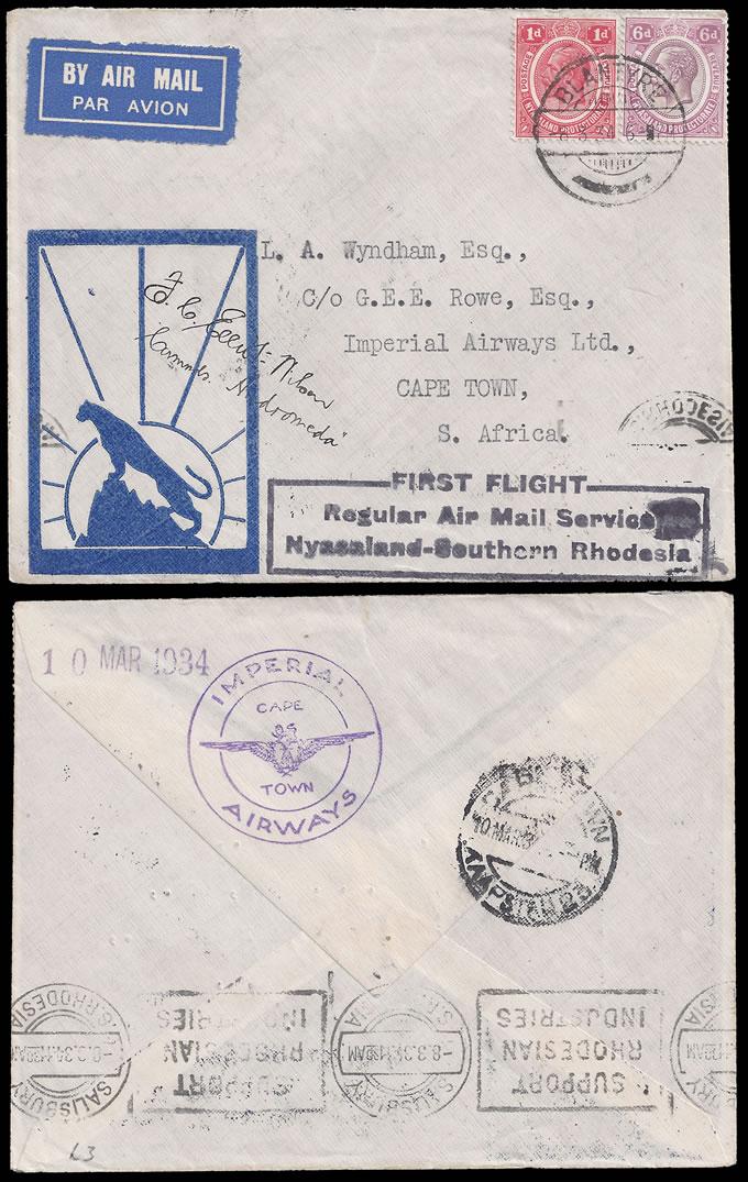 NYASALAND 1934 PILOT SIGNED FIRST FLIGHT BLANTYRE TO CAPE TOWN