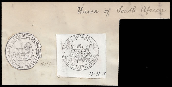 South Africa 1910 London High Commissioner Handstamps