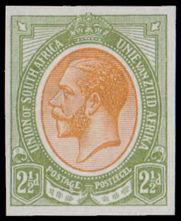 South Africa 1913 KGV Imperf Colour Trial, Orange & Olive as 4d