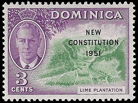 "DOMINICA 1951 KGVI 3C ""C"" of ""CA"" MISSING FROM WATERMARK"