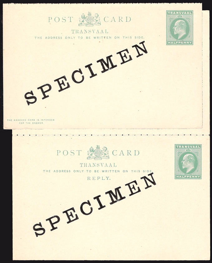 Transvaal 1902 KEVII ½d Reply Cards Specimen
