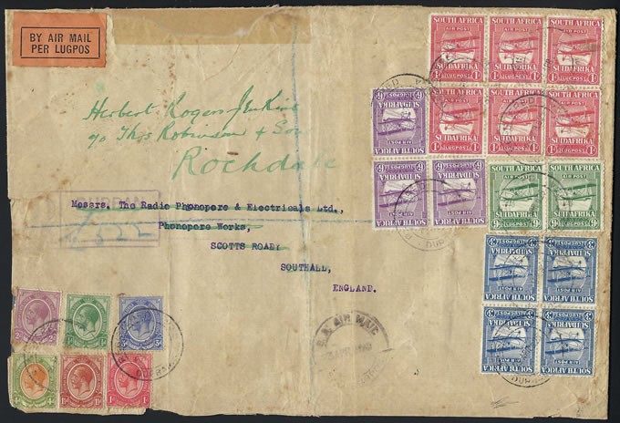 South Africa 1925 Airs Spectacular Multiple Franking, Commercial