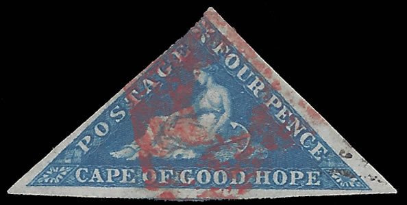 CAPE OF GOOD HOPE 1855 4D TRIANGULAR WITH RED CANCELLATION
