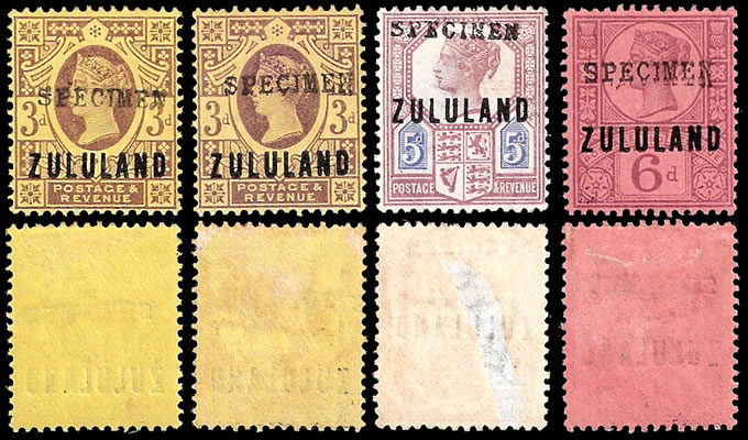 Zululand 1888 3d, 5d & 6d GB9 Somerset House Specimens