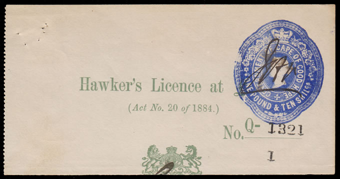 CAPE OF GOOD HOPE 1887c QV SIX POUNDS LICENCE STAMPS