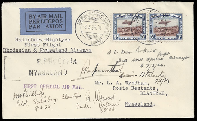 SOUTH WEST AFRICA 1934 FIRST RANA RETURN MULTIPLE PILOT SIGNED
