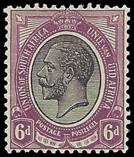 "South Africa 1913 6d Variety Missing ""Z"" in ""Zuid"" & Part Frame"