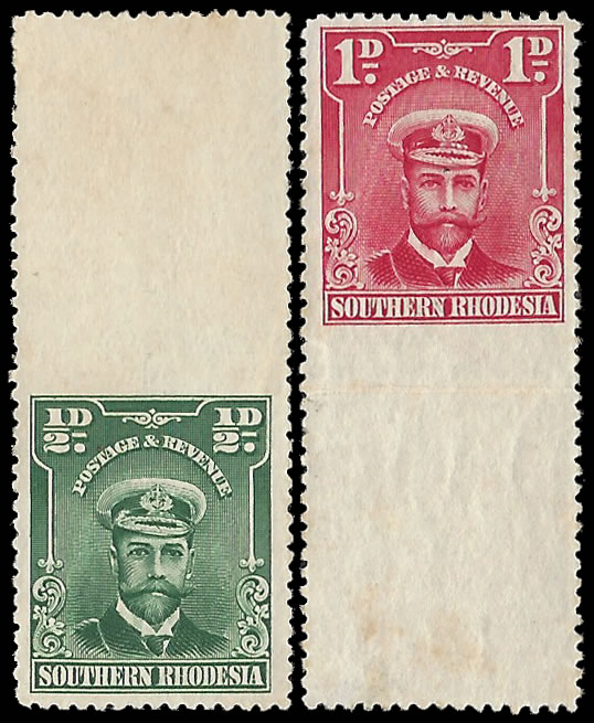 Southern Rhodesia 1924 Admirals Imperf Betw Stamp & Margin