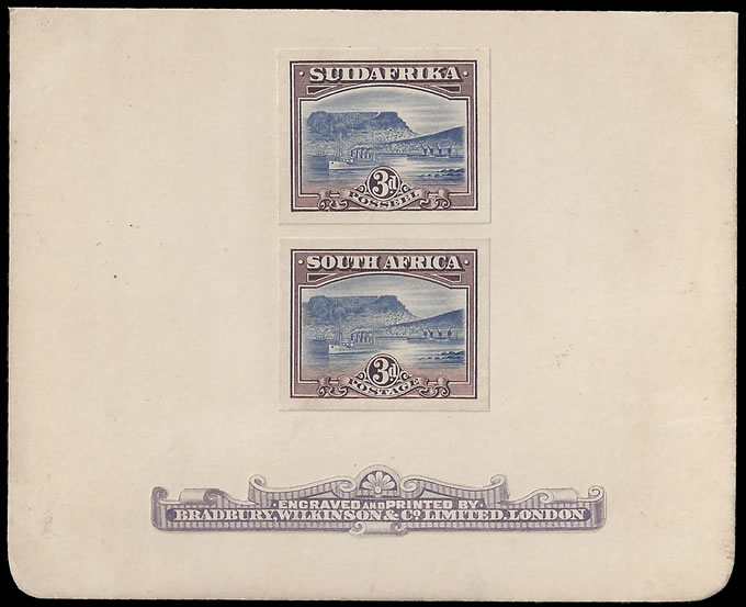 SOUTH AFRICA 1927 LONDON 3D/10/- PROOFS ON BRADBURY CARD