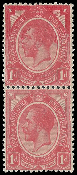 SOUTH AFRICA 1913 KGV 1D HEAVILY OVER-INKED IN PAIR