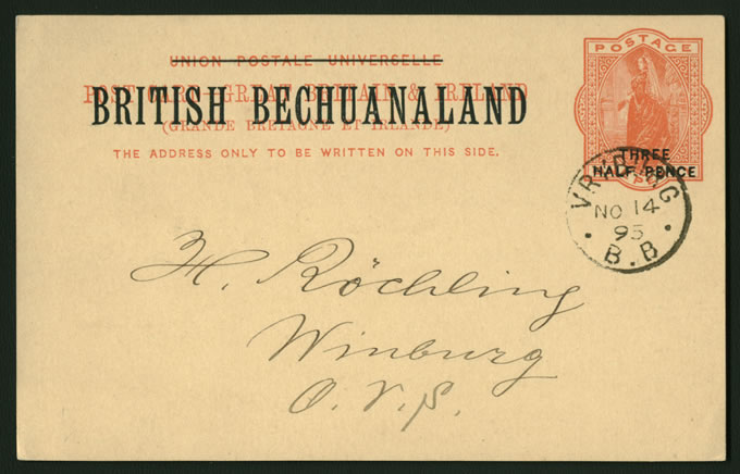 BECHUANALAND 1895 POSTCARD VRYBURG TO OFS