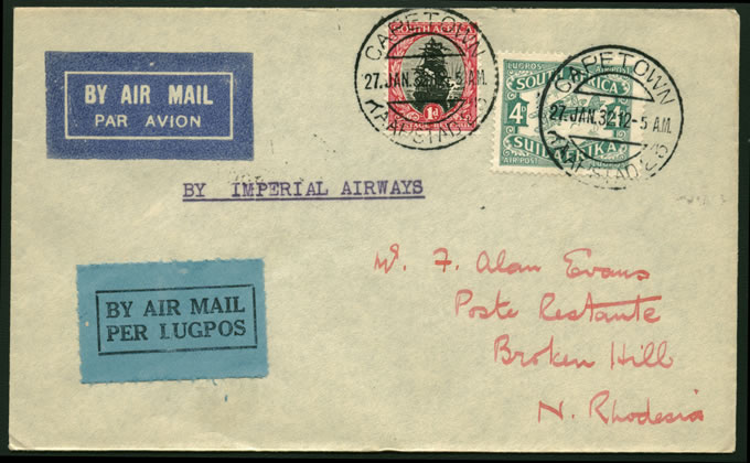 NORTHERN RHODESIA 1932 CAPE TOWN TO BROKEN HILL INTERRUPTED MAIL