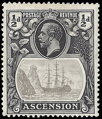 ASCENSION 1924 BADGE ISSUE ½D BROKEN MAINMAST F/M