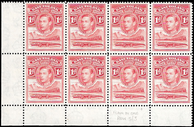 "BASUTOLAND 1938 KGVI 1D FLAW IN ""1"" IN BLOCK OF EIGHT"