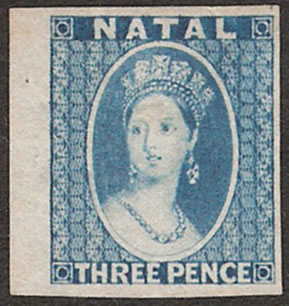 Natal 1862 QV 3d Plate Proof, Star Wmk
