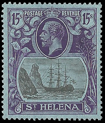 SAINT HELENA 1922 BADGE ISSUE 15/- SUPERB M, RARE