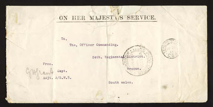 BECHUANALAND 1901 OHMS LETTER FROM TAUNGS STATION