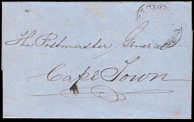 Natal 1856 Pmburg Stampless Letter Wrapper to Cape Town