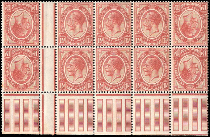 SOUTH AFRICA 1913 KGV 1½D CHESTNUT BLOCK WITH TETE-BECHE