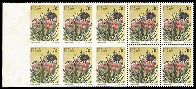 South Africa 1979 3c Protea Imperf Left Margin Imperf Pair Block