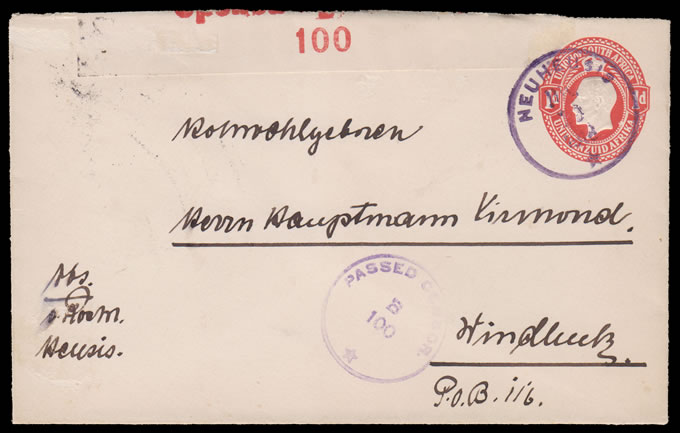 South West Africa 1918 SA KGV 1d Envelope, Rare Neuheusis Pmk