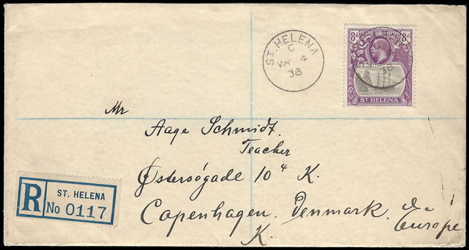 SAINT HELENA 1932 8D BADGE ISSUE FRANKING TO DENMARK