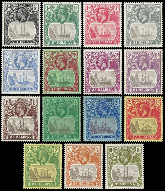 SAINT HELENA 1922 BADGE ISSUE ½D - 10/- FULL SET VF/M