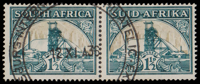 SOUTH AFRICA 1936 1½D GOLD MINE SHADING OMITTED VF/U PAIR