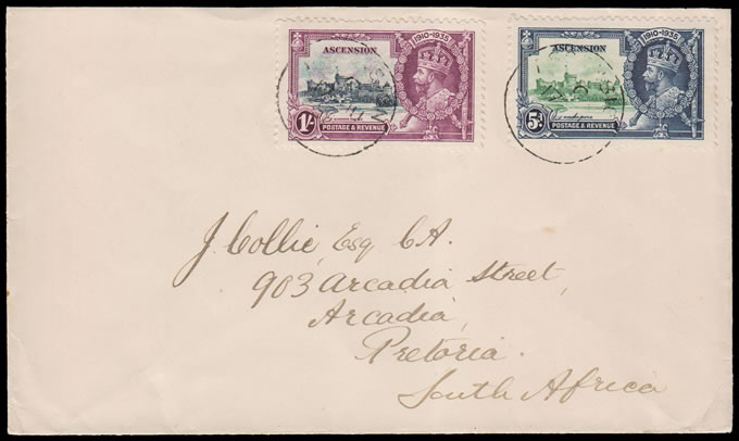 ASCENSION 1935 COVER TO PRETORIA, SILVER JUBILEE FRANKING