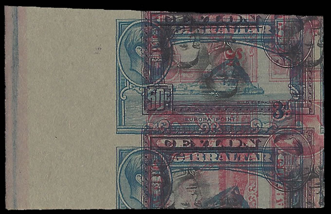 KUT 1949 KGVI 40C IMPERF PRINTERS TRIAL WITH CEYLON, GIBRALTAR - Click Image to Close