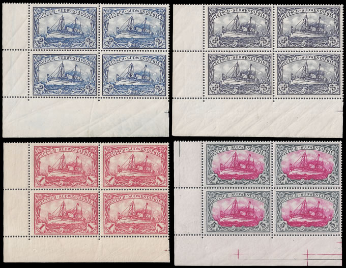 South West Africa 1901 Yacht High Values Corner Blocks UM