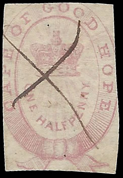 CAPE OF GOOD HOPE REVENUES 1861 ½D RED IMPERF PEN CANCEL