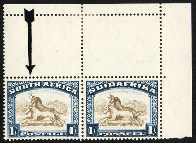 SOUTH AFRICA 1930 1/- GNUS WITH TWISTED HORN UM POSITIONAL