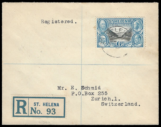 SAINT HELENA 1934 CENTENARY 6D ON COVER