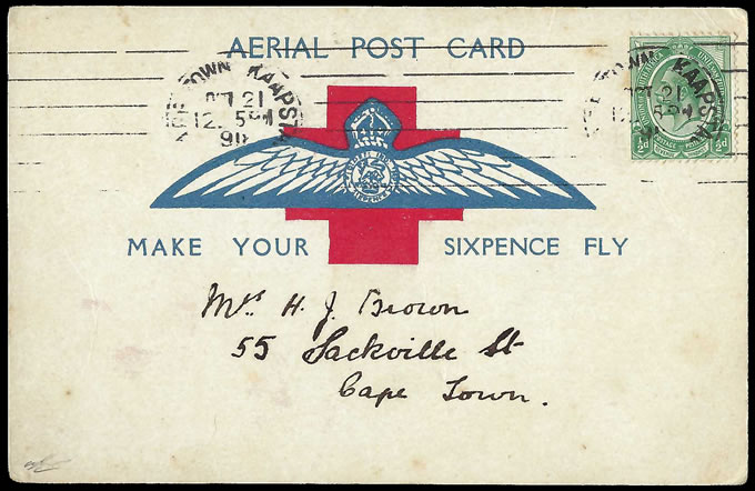 South Africa 1918 Cape Town Flight Card, Influenza Machine cds - Click Image to Close