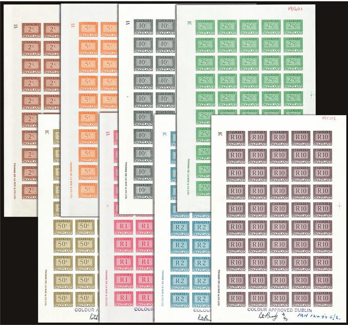 SWAZILAND REVENUES 1970 COMPLETE IMPERF COLOUR PROOF SHEETS