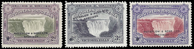Southern Rhodesia 1932 & 1935 Falls Waterlow Specimens Trio