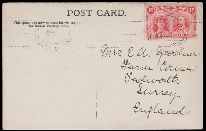 Rhodesia 1916 1d Double Head Second Day of Use Postcard