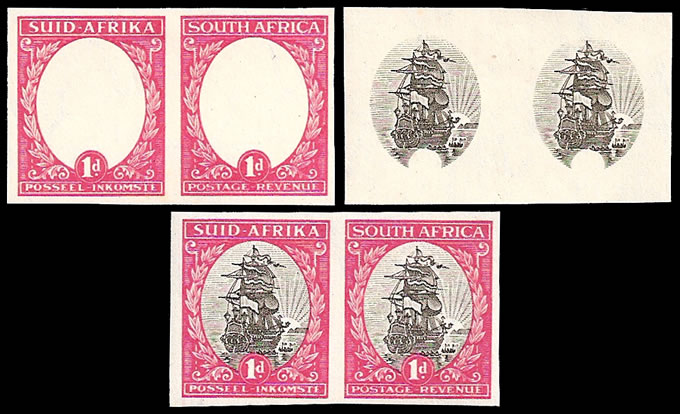 "SOUTH AFRICA 1933 1D PO MUSEUM ""PROOFS"" RARE TRIO ALL STAGES"