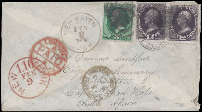 CAPE OF GOOD HOPE 1876 LOVELY INCOMING LETTER FROM AMERICA