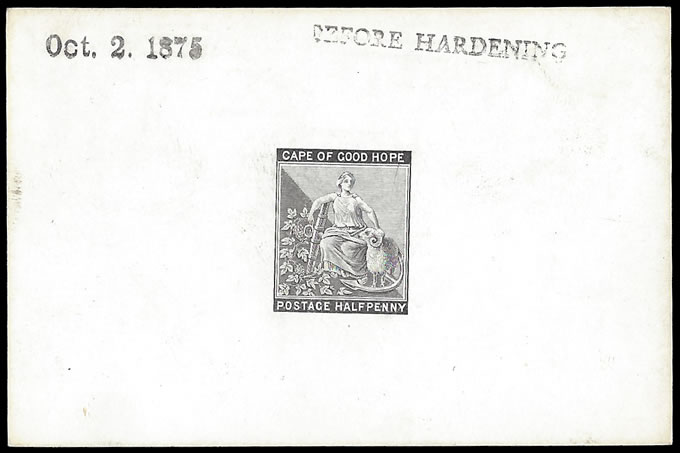 CAPE OF GOOD HOPE 1871 ½D DIE PROOF BEFORE HARDENING