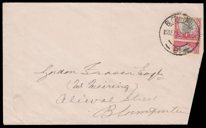 SOUTH AFRICA 1936 1D SHIP COIL DRAMATIC MISCUT ON COVER