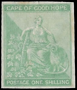 CAPE OF GOOD HOPE 1864 1/- IMPERF PLATE PROOF, RARE