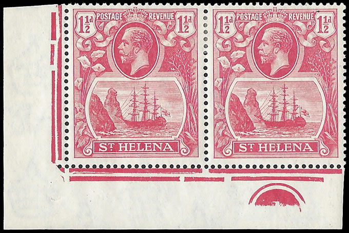 Saint Helena 1923 Badge Issue 1½d Cleft Rock in Plate No