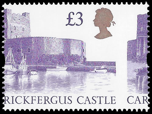 GREAT BRITAIN 1992 £3 CARRICKFERGUS CASTLE MISPERF