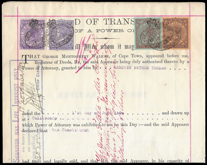 Cape of Good Hope 1904 Transfer Deed QV £10 £5 £1 & 10/-