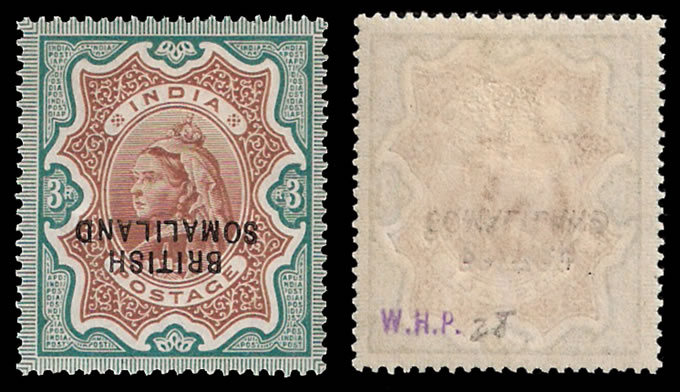 SOMALILAND 1903 QV 3R OVPT DOUBLE, BOTH INVERT, RARE!