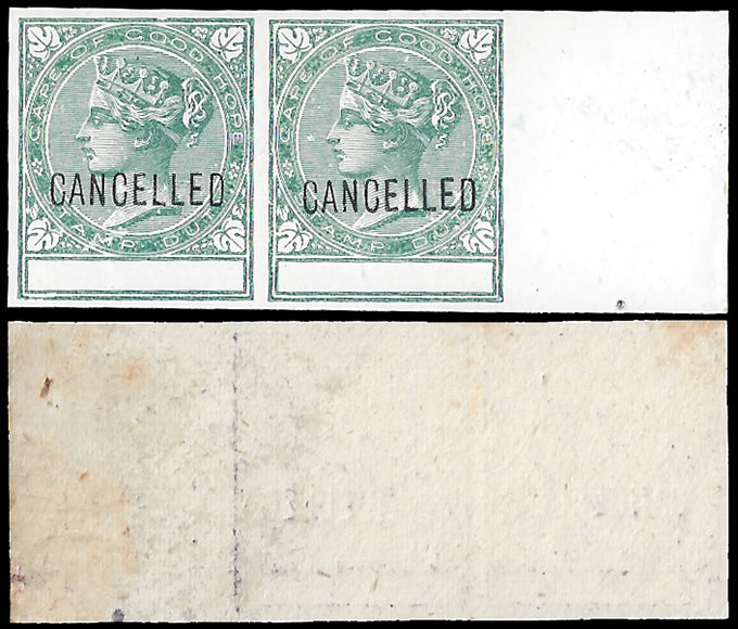 CAPE OF GOOD HOPE 1884 STAMP DUTY PLATE PROOFS